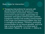 basic goals for intervention