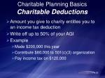 charitable planning basics charitable deductions