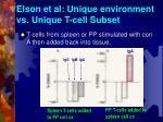 elson et al unique environment vs unique t cell subset