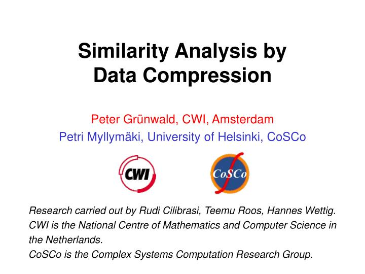 similarity analysis by data compression n.