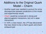 additions to the original quark model charm