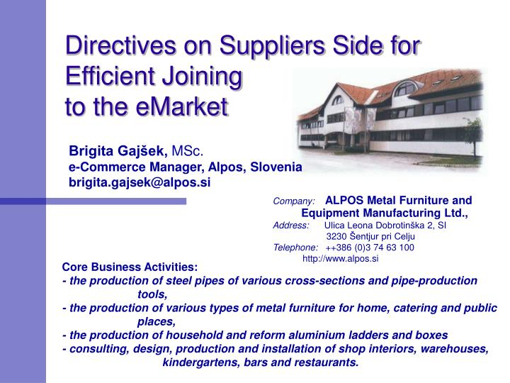 directives on suppliers side for efficient joining to the emarket n.