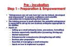 pre incubation step 1 preparation empowerment