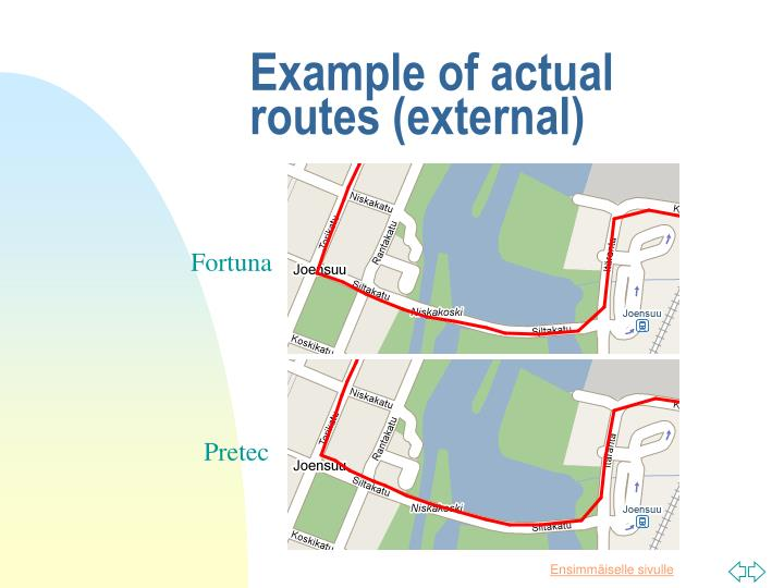 Example of actual routes (external)