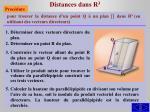 distances dans r 31