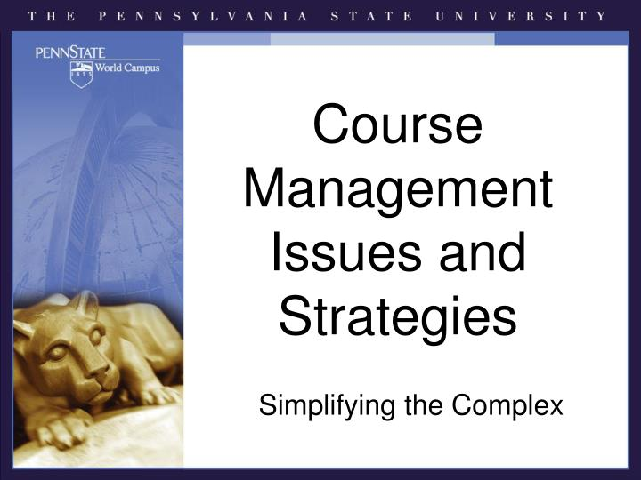 course management issues and strategies n.
