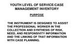 youth level of service case management inventory