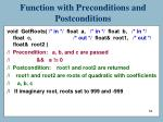 function with preconditions and postconditions