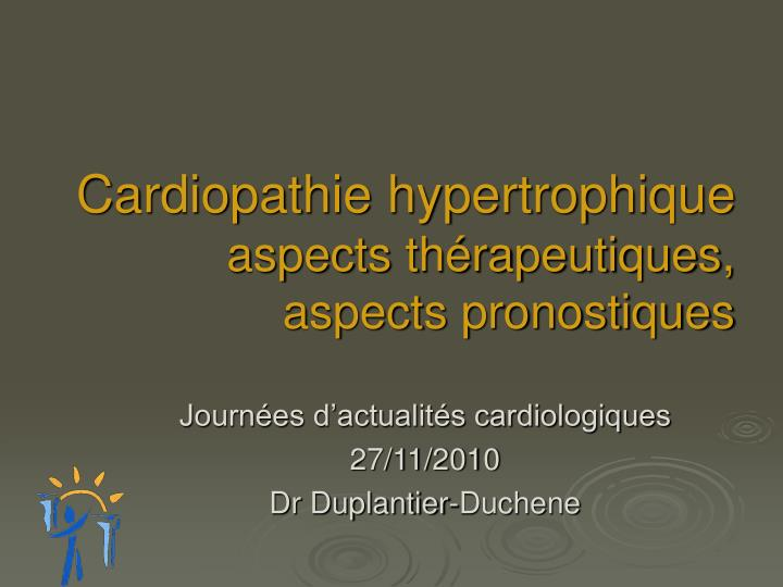 cardiopathie hypertrophique aspects th rapeutiques aspects pronostiques n.