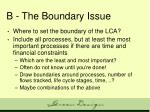 b the boundary issue