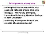 development of survey form