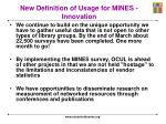 new definition of usage for mines innovation