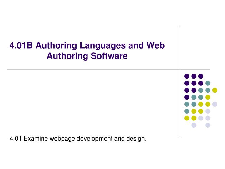 4 01b authoring languages and web authoring software n.