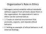 organization s role in ethics