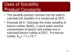 uses of solubility product constants