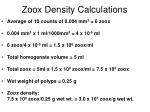 zoox density calculations