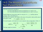 14 5 the wilcoxon signed ranks test paired ranks
