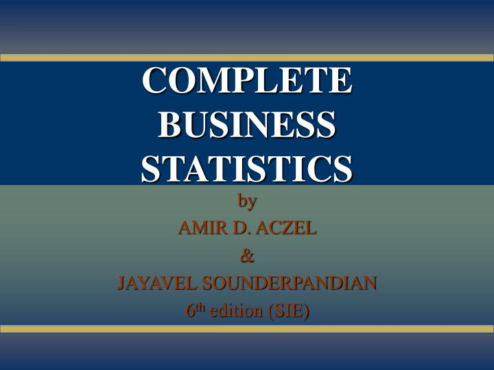 complete business statistics n.
