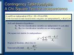contingency table analysis a chi square test for independence