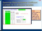 spearman rank correlation coefficient example 14 11 using the template