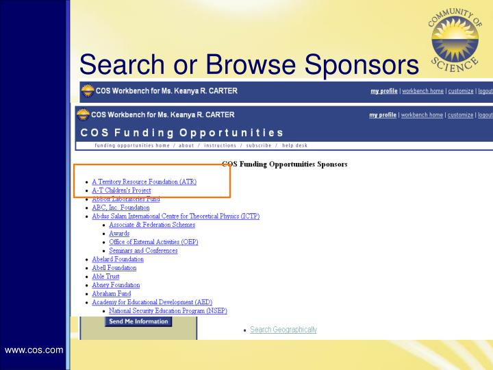 Search or Browse Sponsors