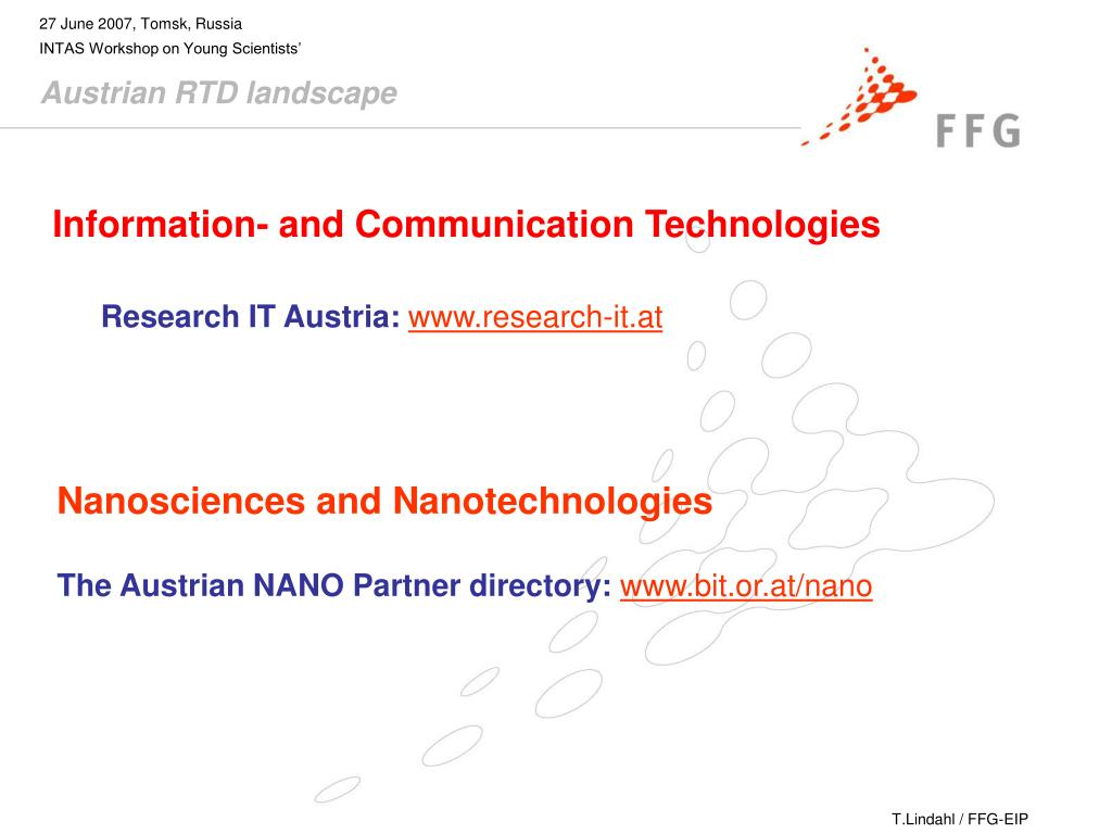 PPT - Therese Lindahl FFG – Austrian Research Promotion