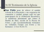 b el testimonio de la iglesia