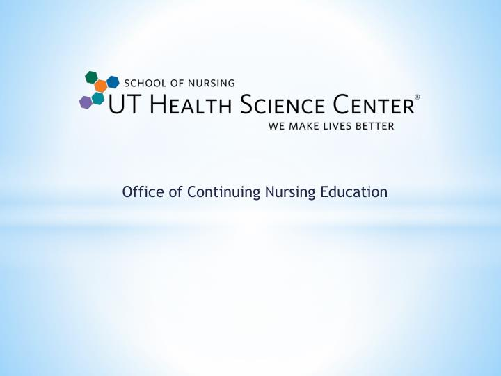 office of continuing nursing education n.
