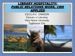 library hospitality public relations work crm applied