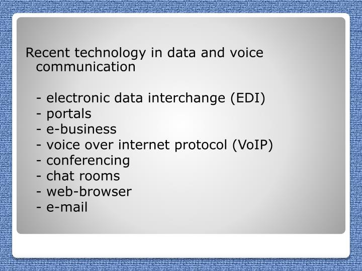 Recent technology in data and voice communication