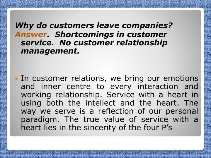 Why do customers leave companies?
