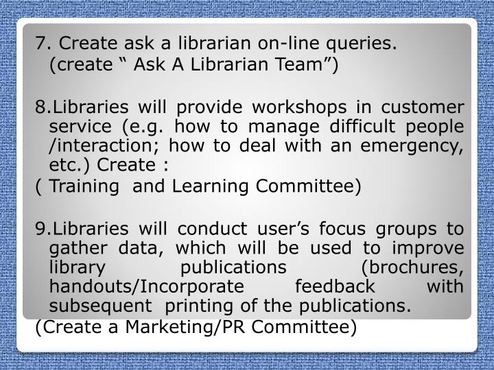 7. Create ask a librarian on-line queries.
