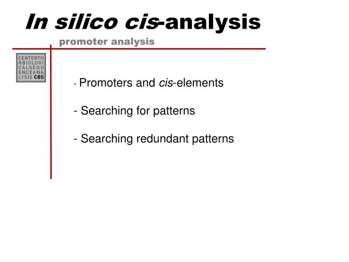 in silico cis analysis n.