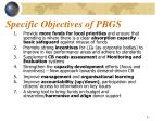 specific objectives of pbgs