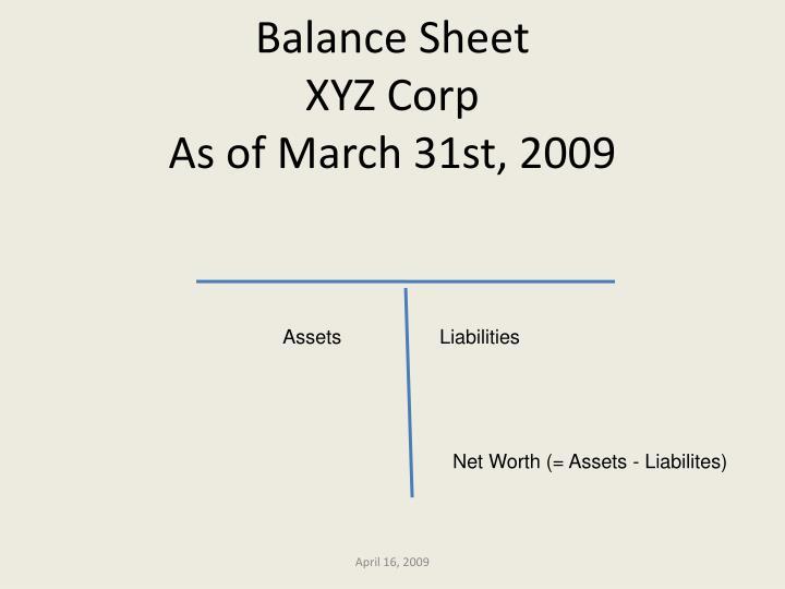 Balance sheet xyz corp as of march 31st 2009