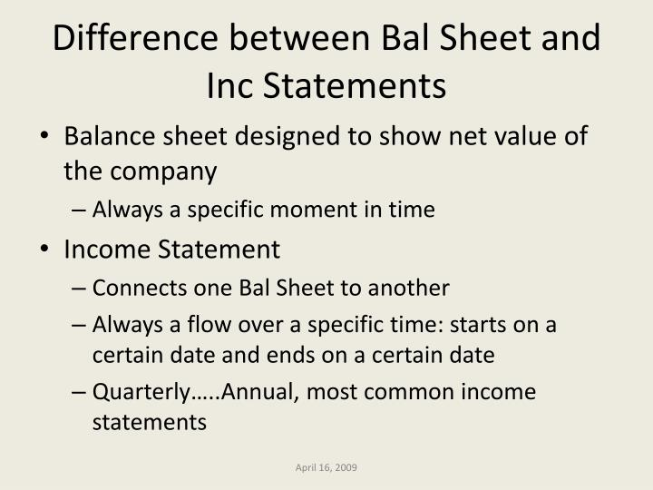 Difference between Bal Sheet and Inc Statements