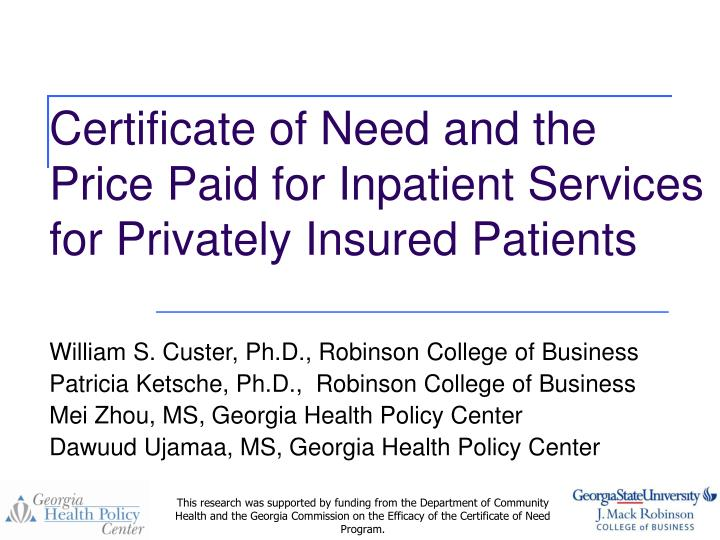 certificate of need and the price paid for inpatient services for privately insured patients n.