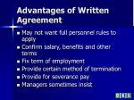 advantages of written agreement