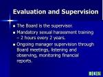 evaluation and supervision