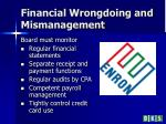 financial wrongdoing and mismanagement