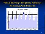 peak shaving programs aimed at reducing peak demand