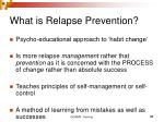 what is relapse prevention