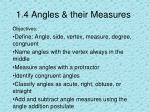 1 4 angles their measures