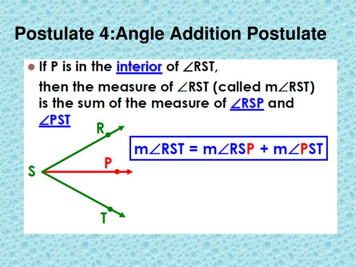 Postulate 4:Angle Addition Postulate