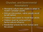 churches and governmental assumptions