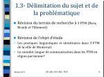 1 3 d limitation du sujet et de la probl matique