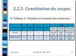 2 2 2 constitution du corpus