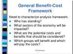 general benefit cost framework