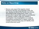 note on reporting