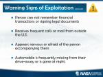 warning signs of exploitation continued